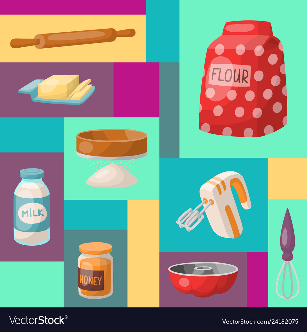 Baking cartoon tools and food seamless pattern