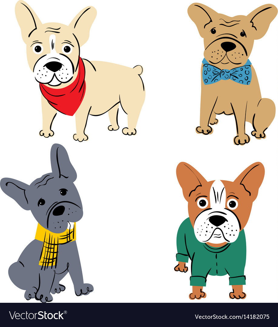 Cartoon Character French Bulldog Royalty Free Vector Image