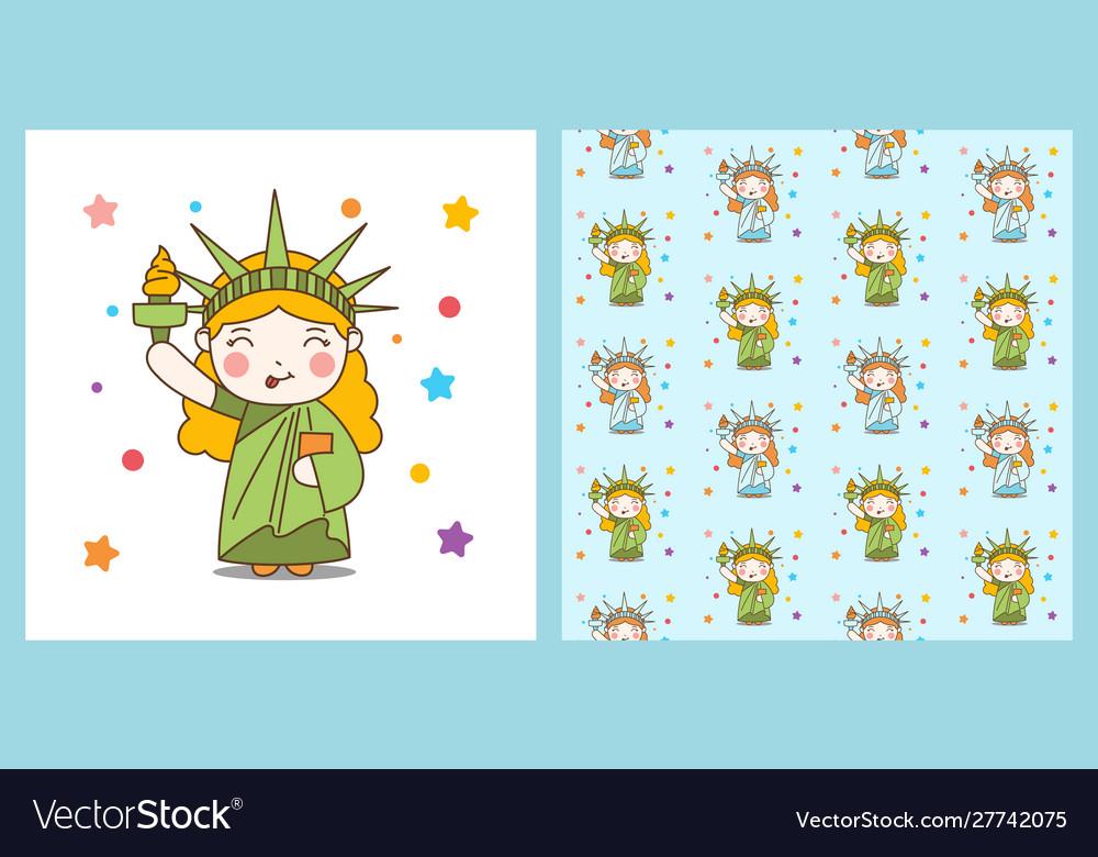 Cute cartoon liberty girl and pattern