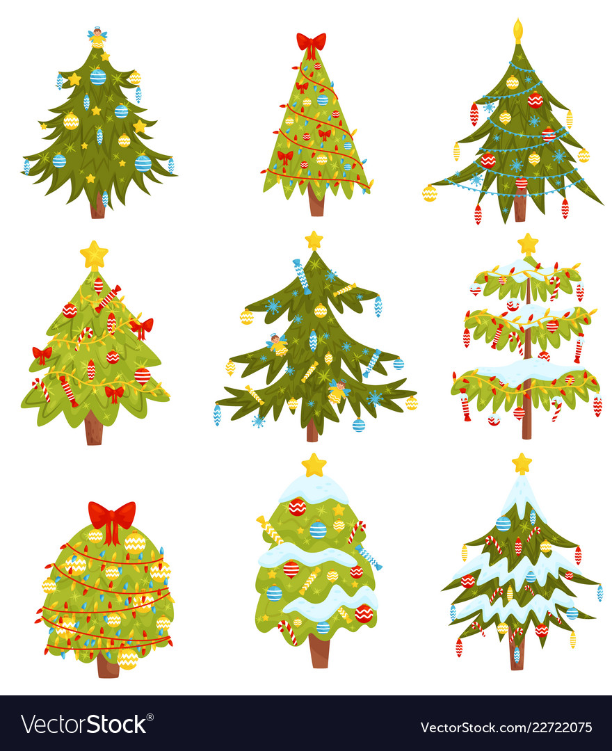 Flat set of christmas trees with different