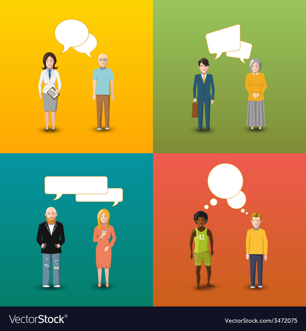 Four couples of people who are engaging in vector image