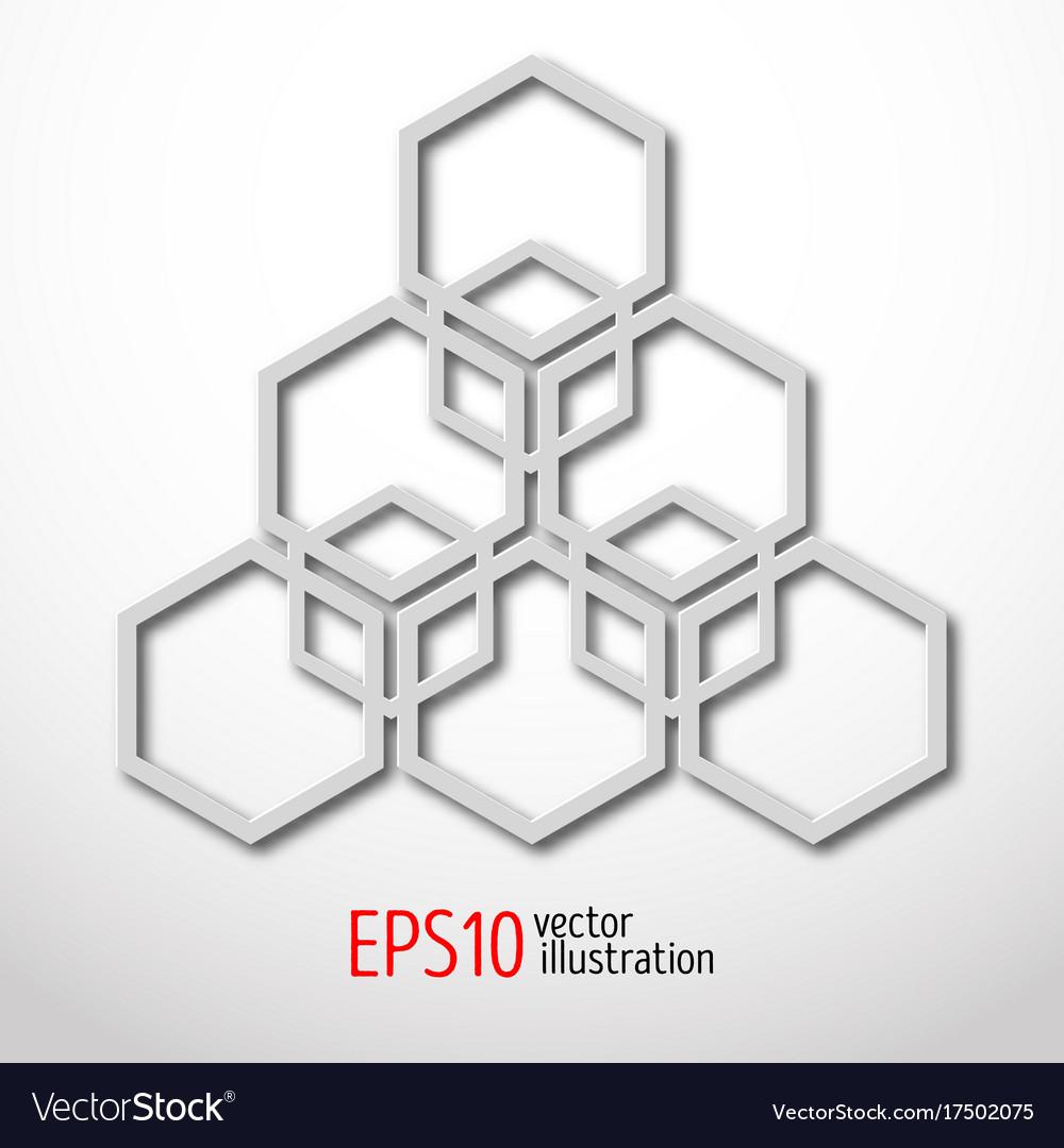 Hexagonal 3d design made in white plastic style