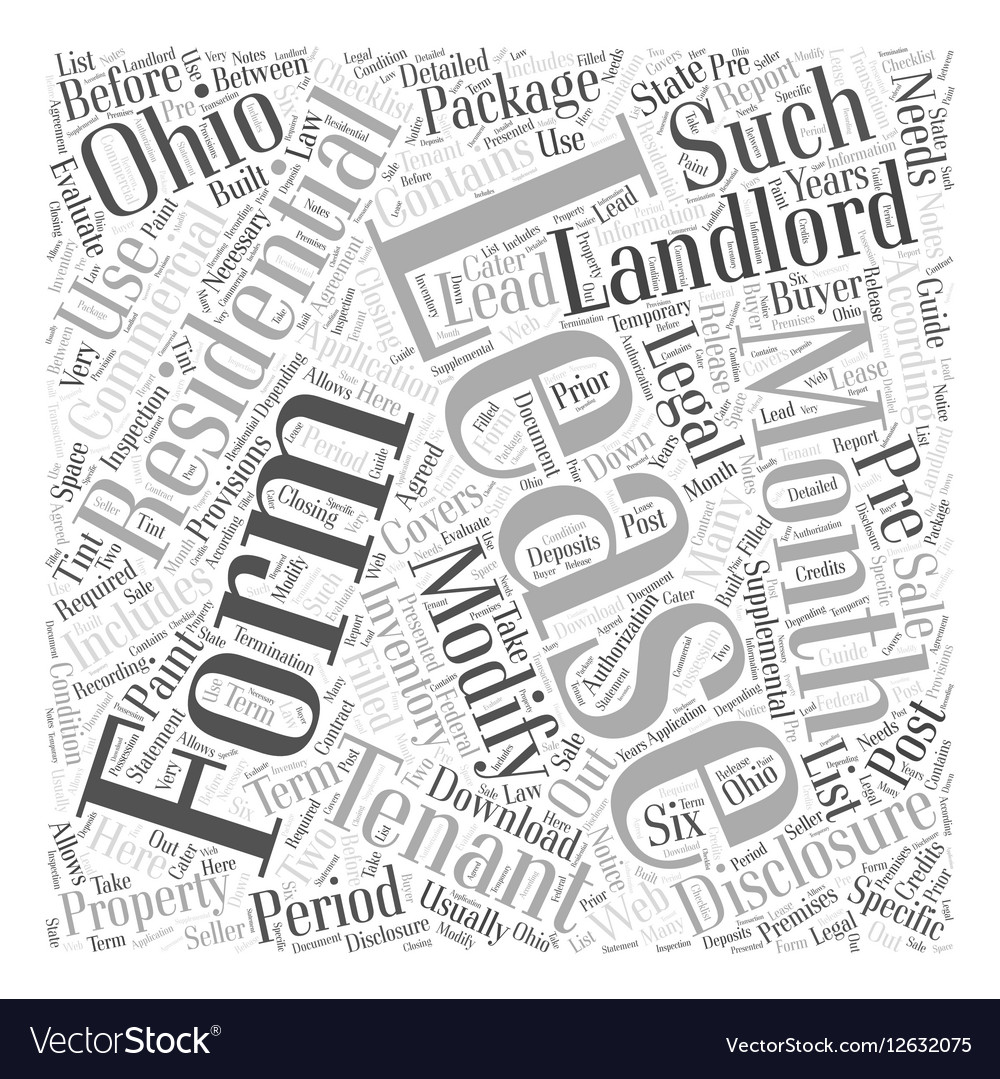 Legal Forms For Landlords In Ohio Word Cloud Vector Image - Ohio legal forms