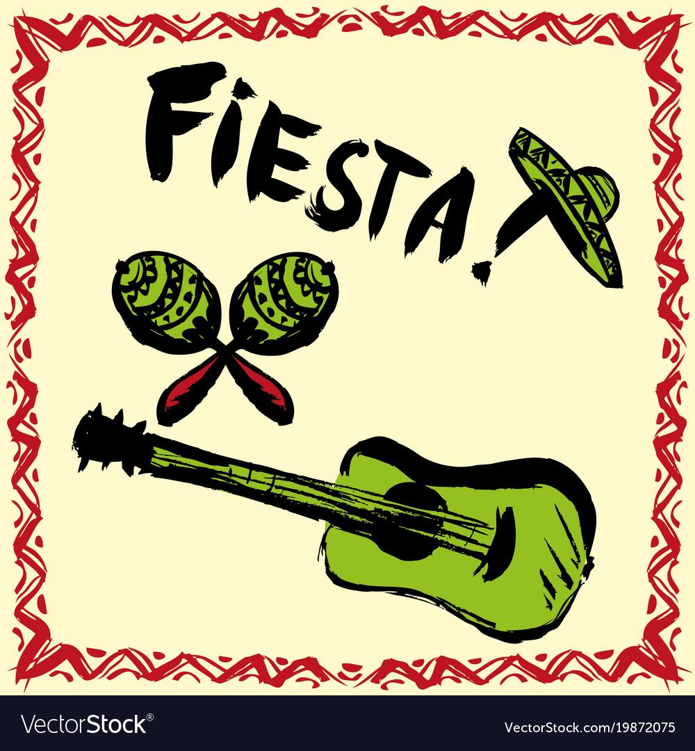 Mexican fiesta party invitation with maracas Vector Image