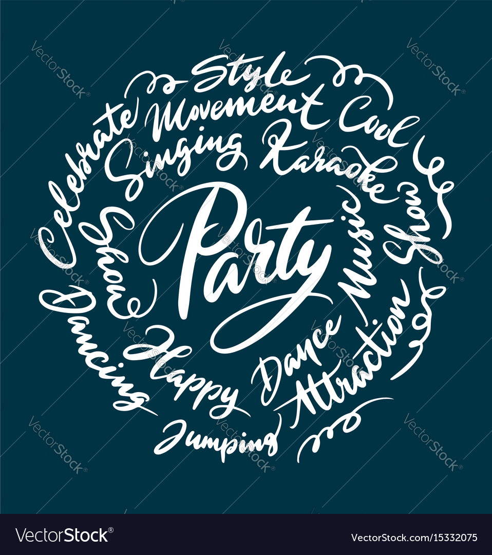 Party concept hand written typography vector image