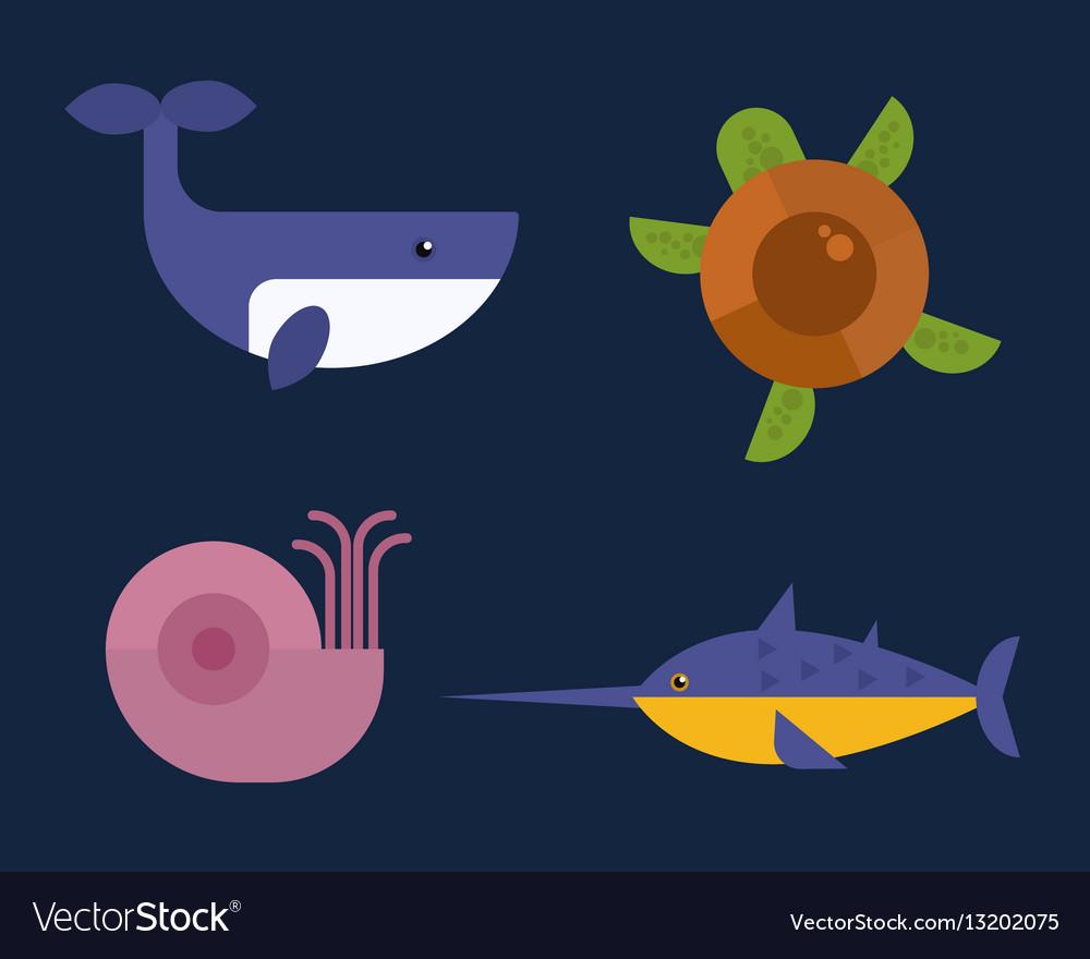 Sea animals marine life character