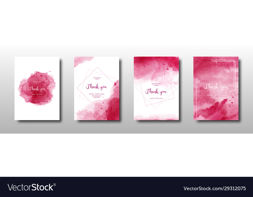Set cherry red watercolor background