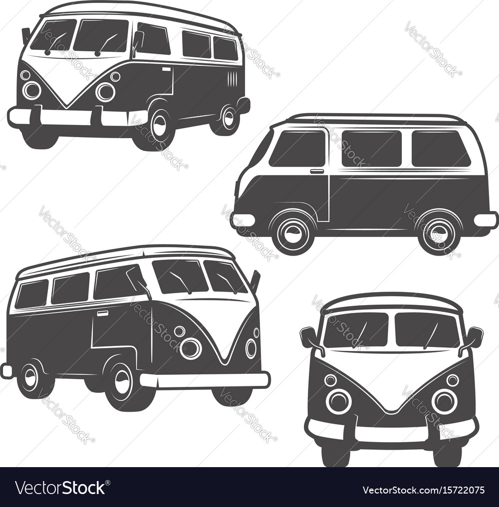 Set of retro hippie buses isolated on white