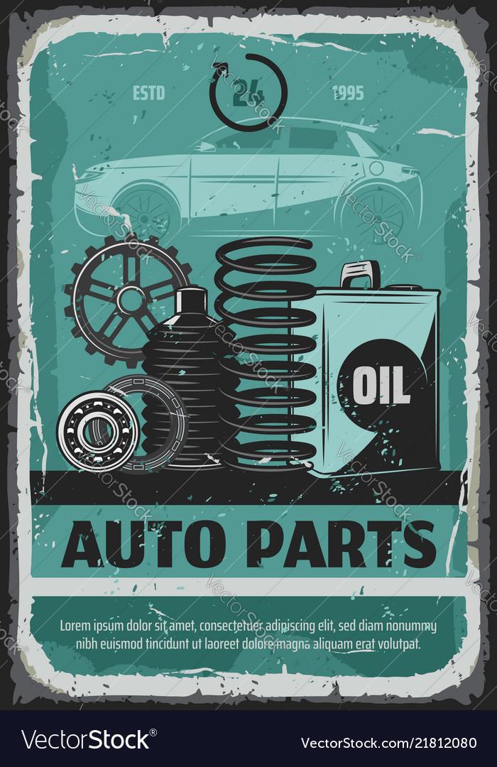 Auto parts oils and cogwheels car service poster