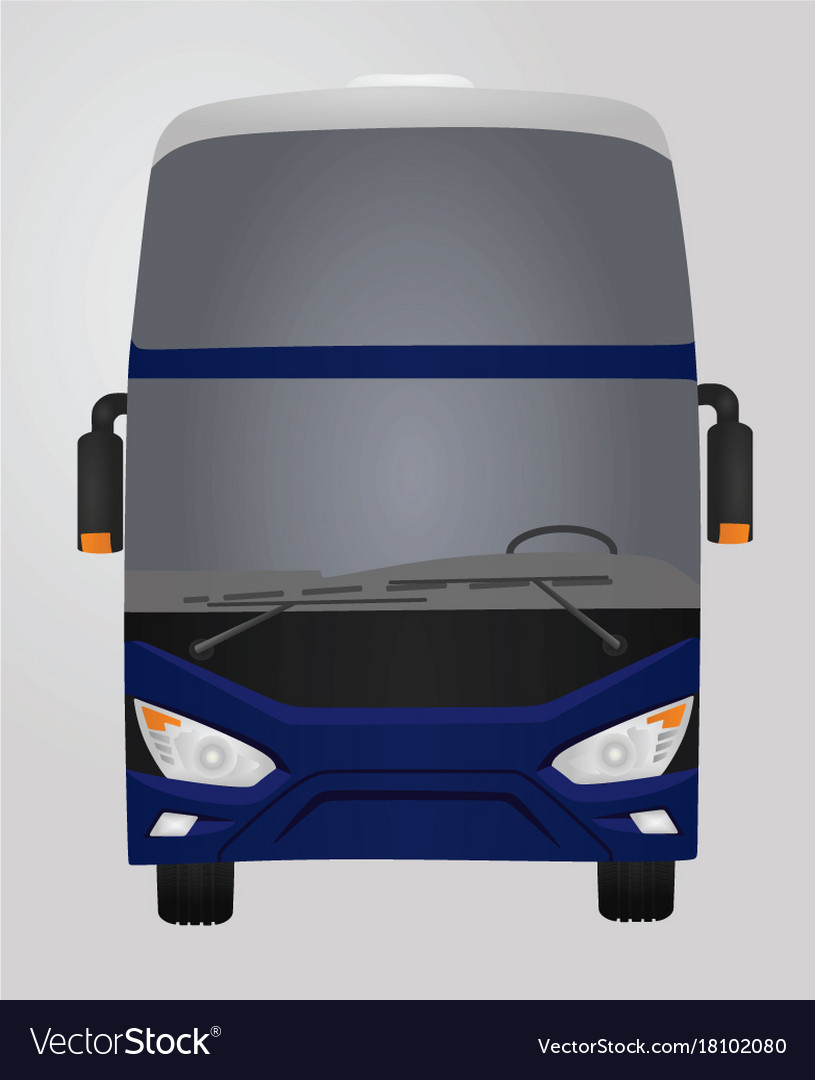 Blue luxury bus front side vector image