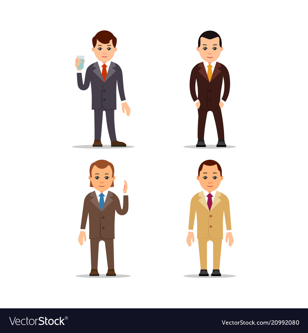 Business man set of manager character in various vector image
