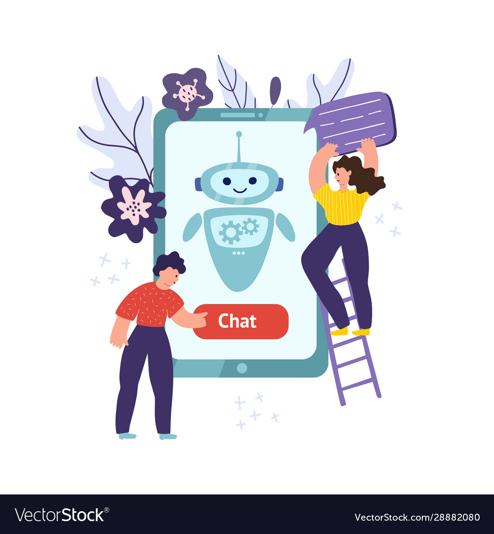 Chatbot mobile concept with man pushing button