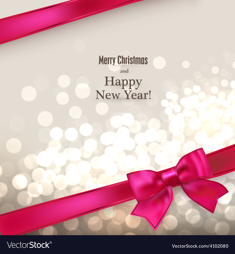 Christmas card with red gift bow vector image