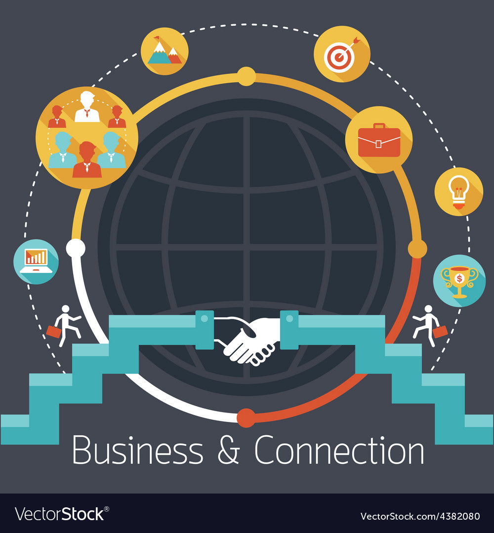 Connection Concept Shake Hands Business Icons