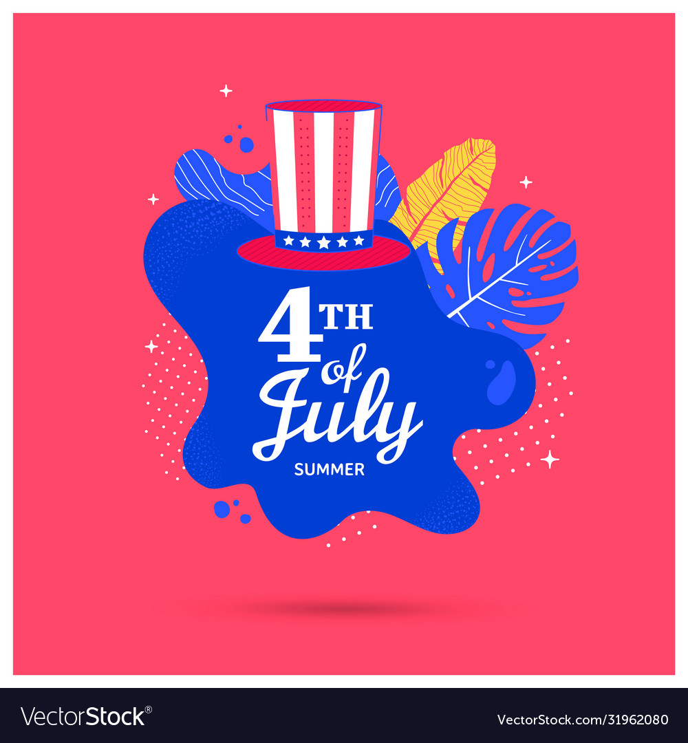 Fourth july holiday banner with hat and shape