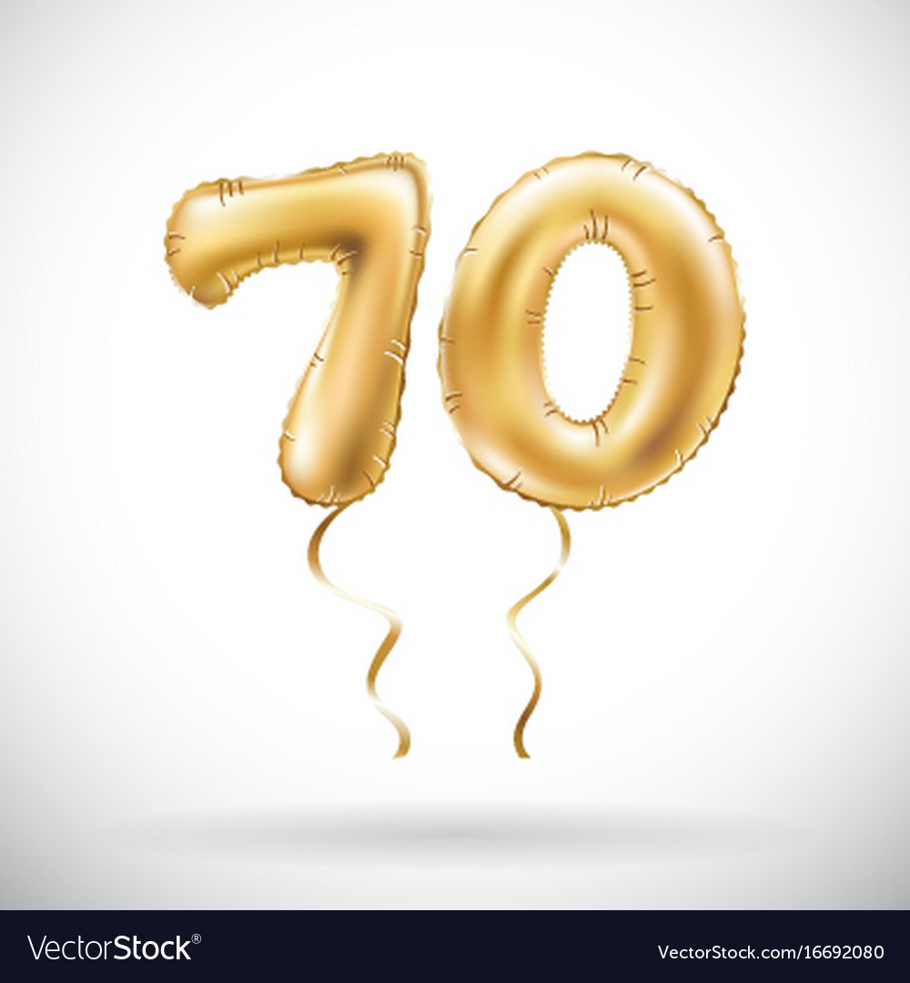 Golden number 70 seventy metallic balloon party