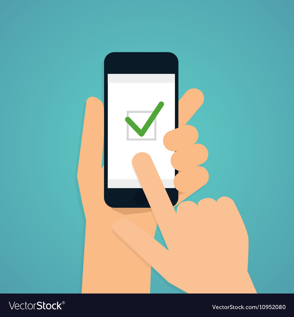 Hand holding mobile smart phone with check app Vector Image