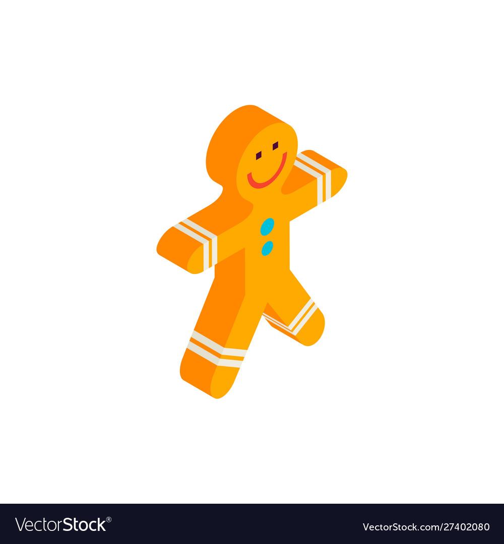 Happy gingerbread man isometric object