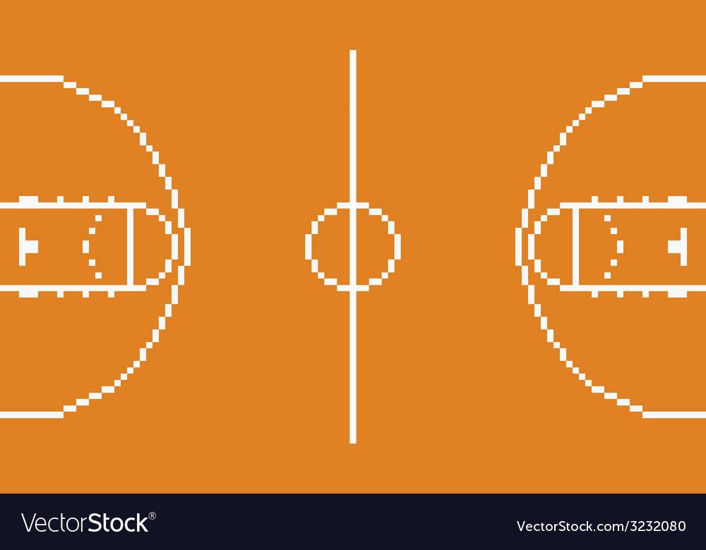 Pixel art basketball sport court layout retro 8
