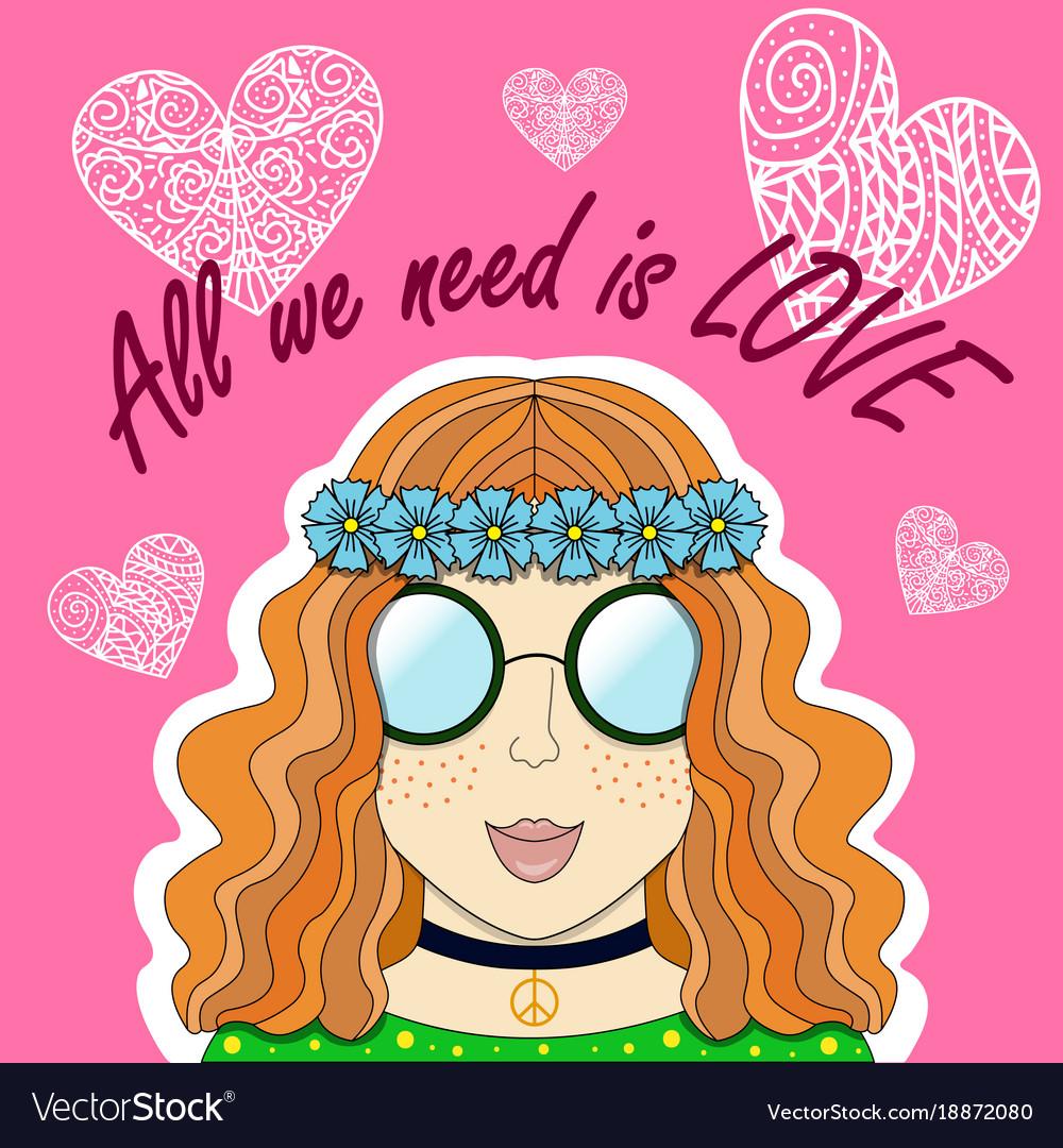 Red girl-hippie vector image