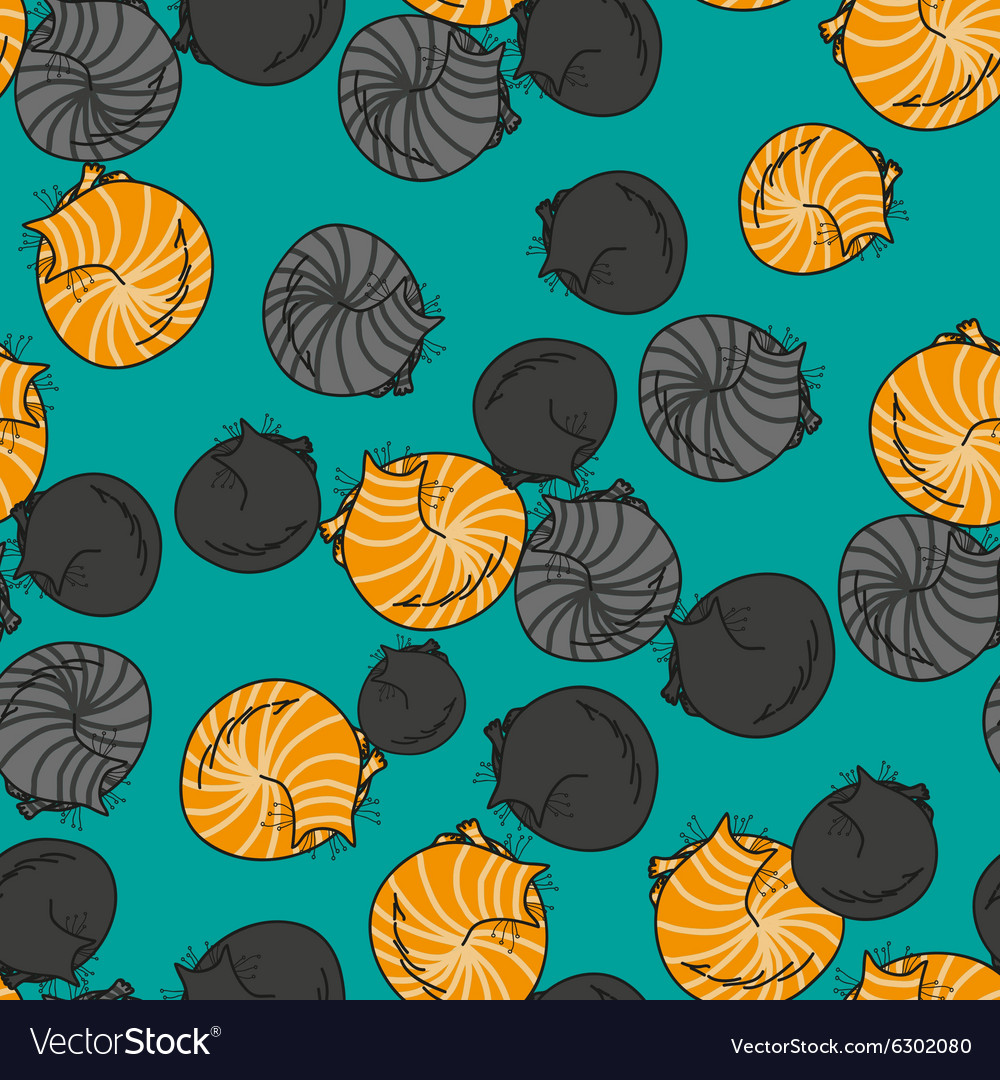 Seamless pattern funny cats isolated on turquoise