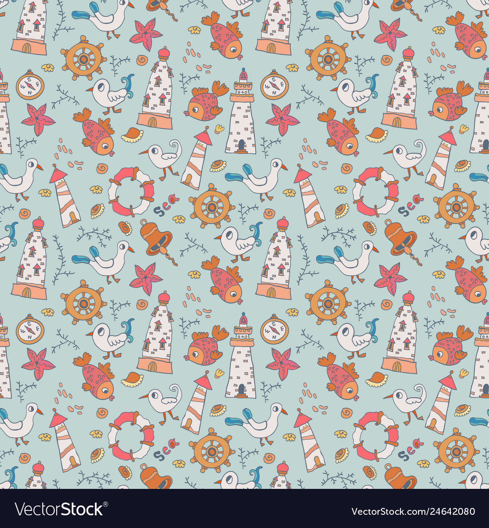 Seamless pattern with seagulls and lighthouses