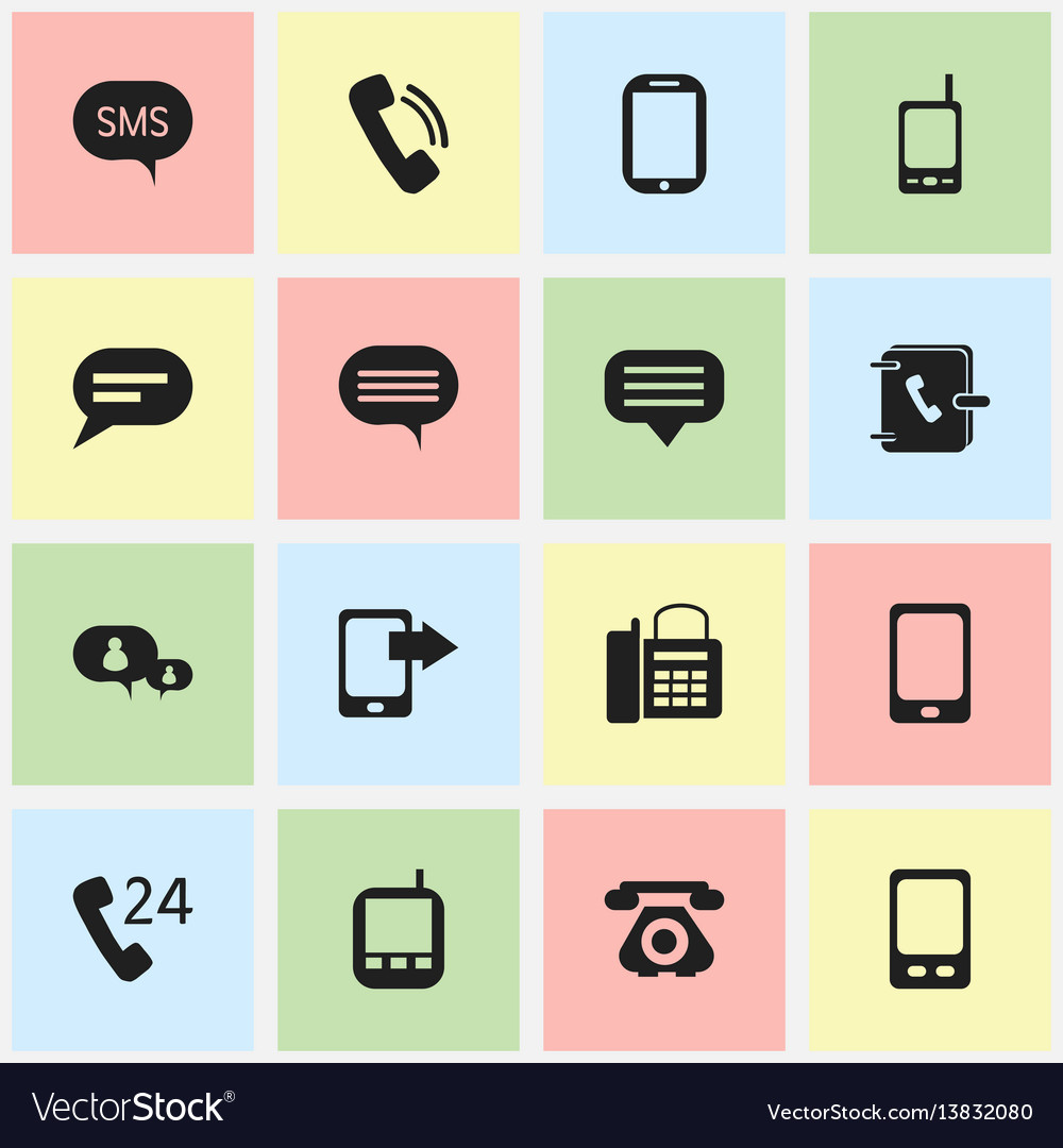Set of 16 editable communication icons includes
