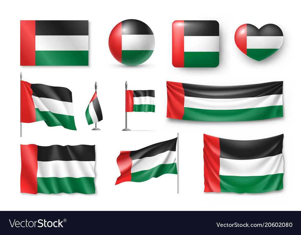 Set united arab emirates flags banners banners