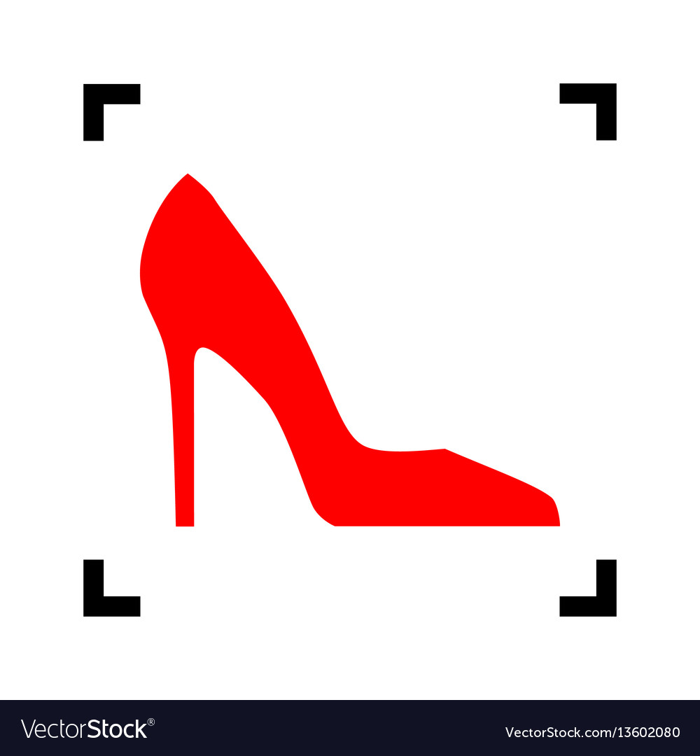 Woman shoe sign red icon inside black