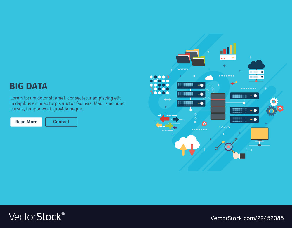 Big data and cloud computing banner with icons