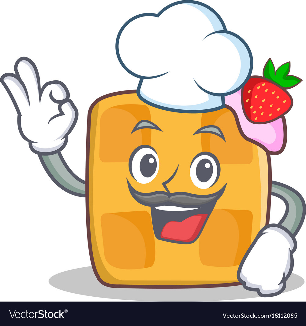 Chef waffle character cartoon design