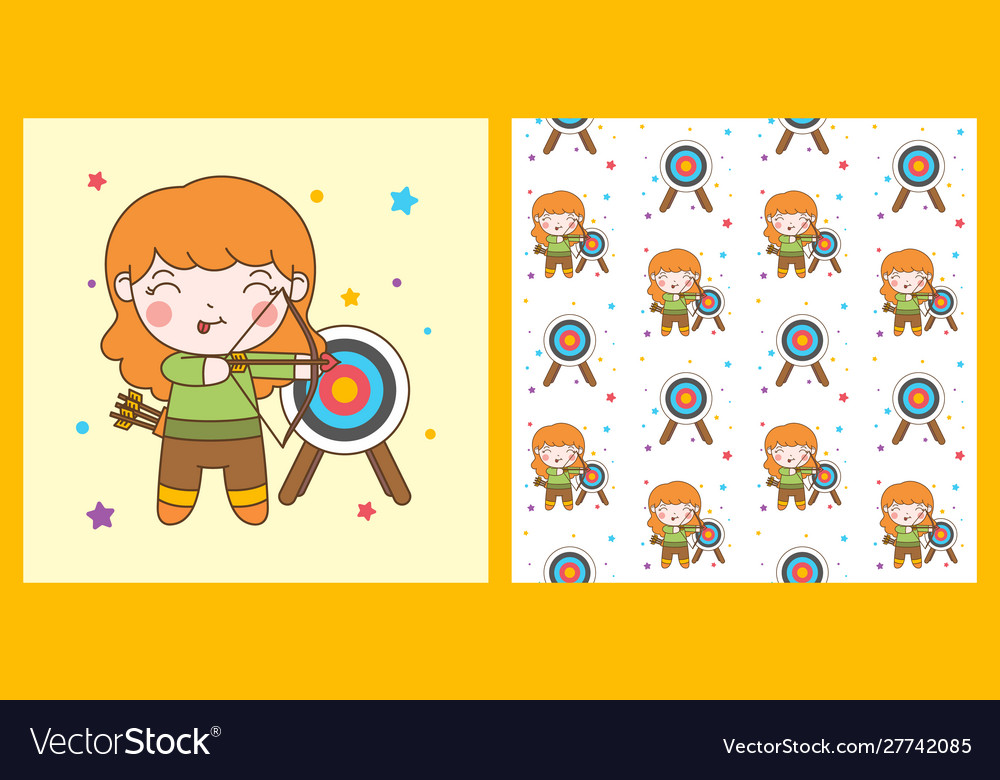 Cute archer girl with blonde hair and pattern