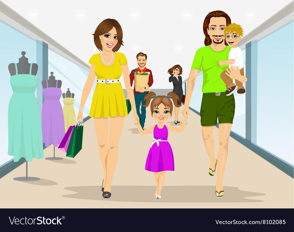 Family walking with shopping bags in supermarket