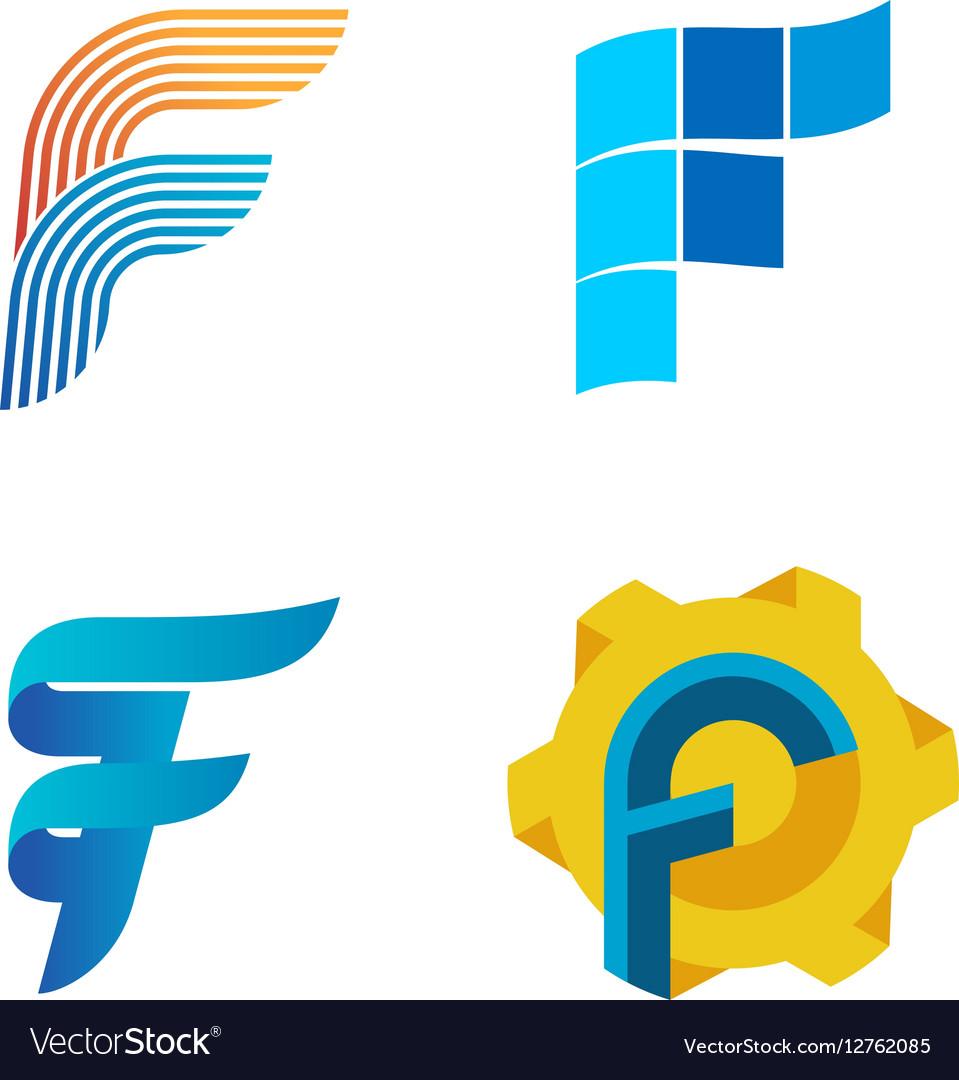 Letter F logo set Color icon templates design vector image