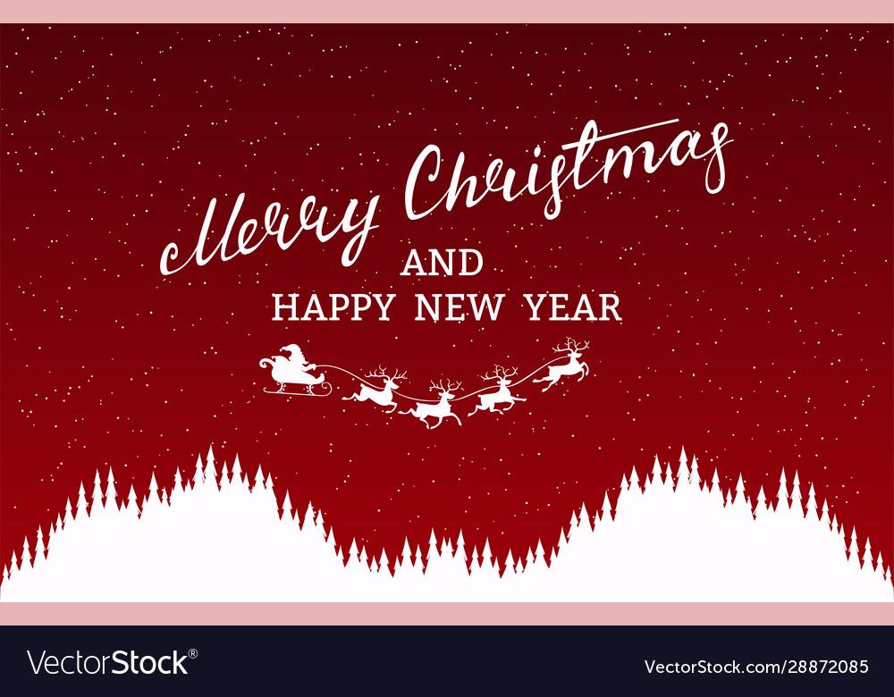 Merry christmas card silhouette santa claus