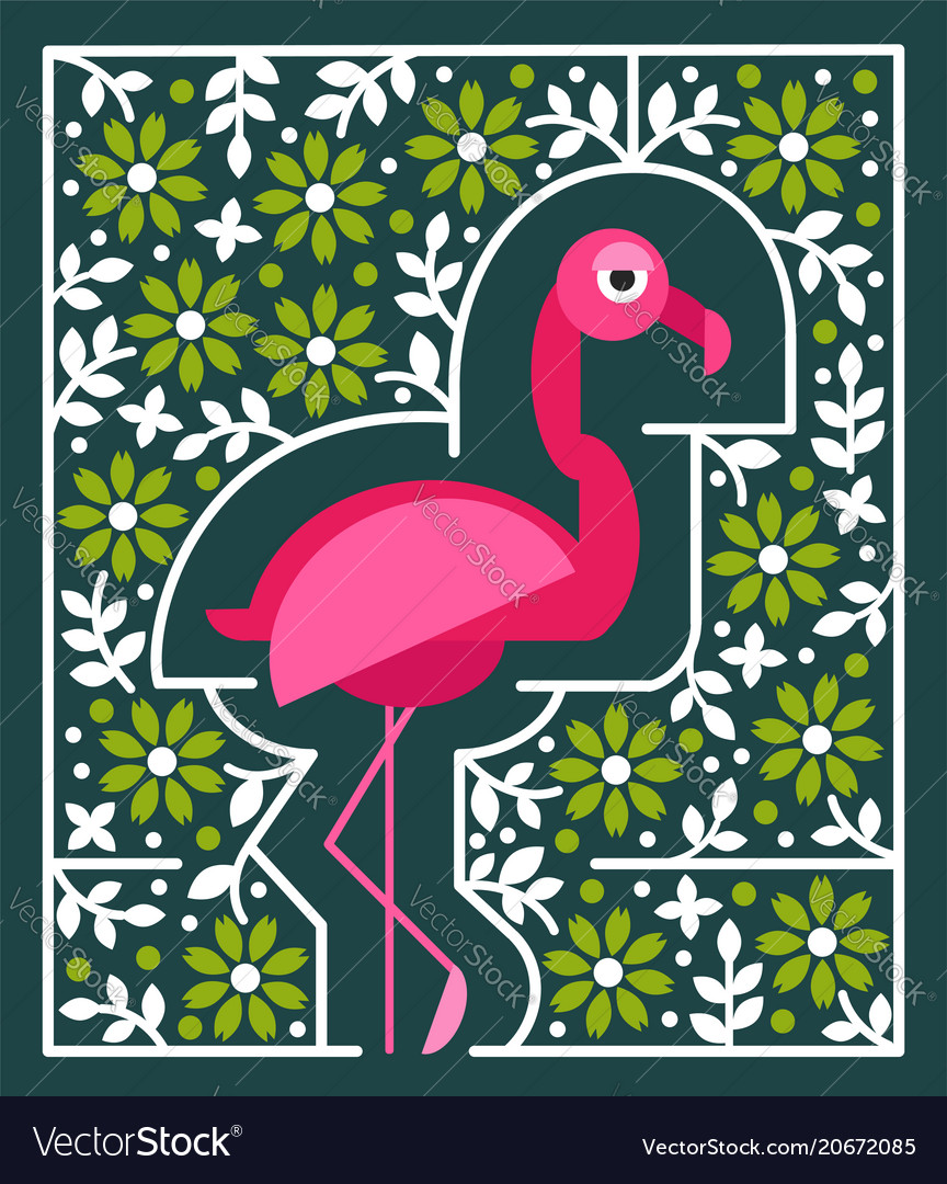 Pink flamingo with flowers tropical bird