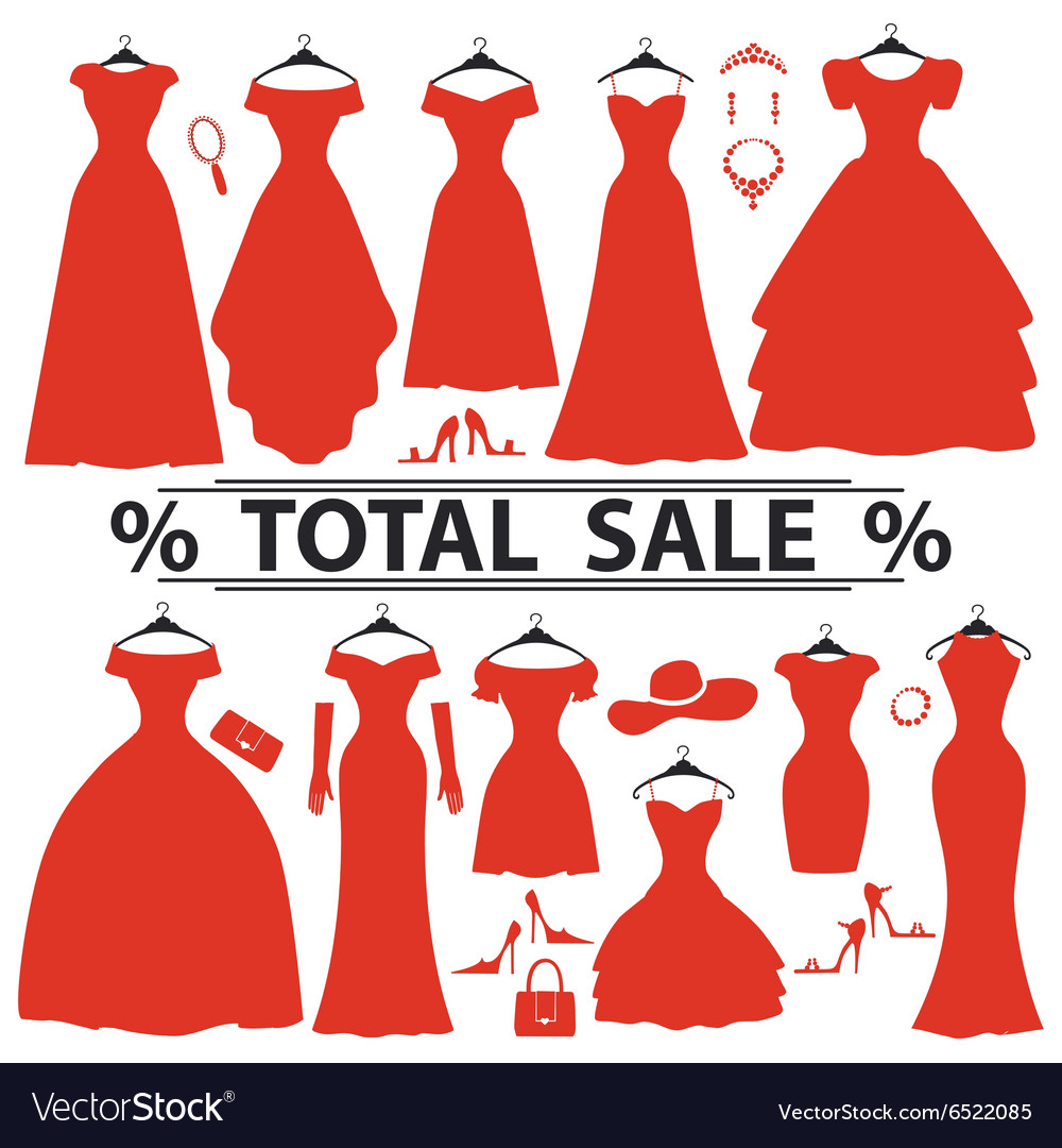 Red party dresses silhouettefashion sale Vector Image