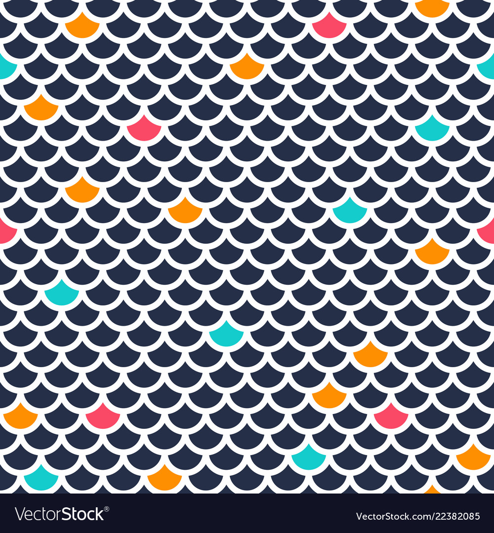 Seamless fish scale pattern ornament repeating
