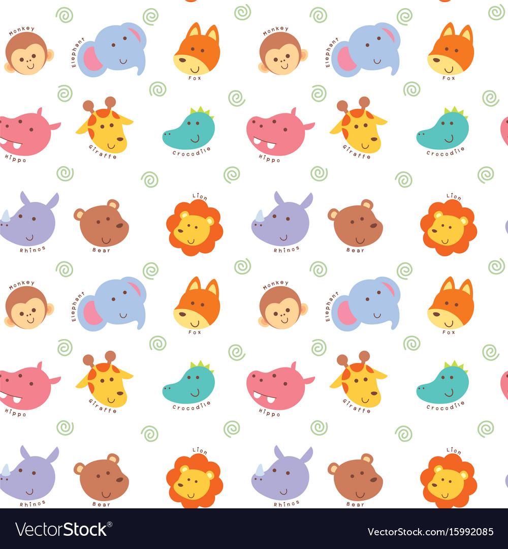 Seamless pattern cute wild animal