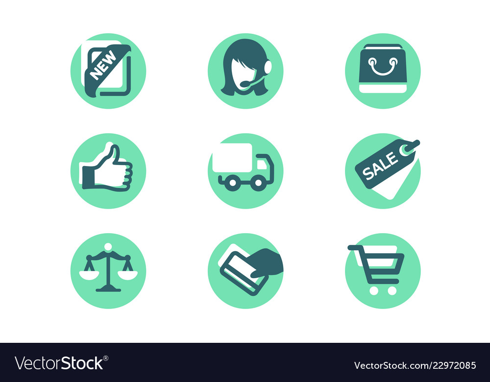 Set shopping icons with card payment delivery