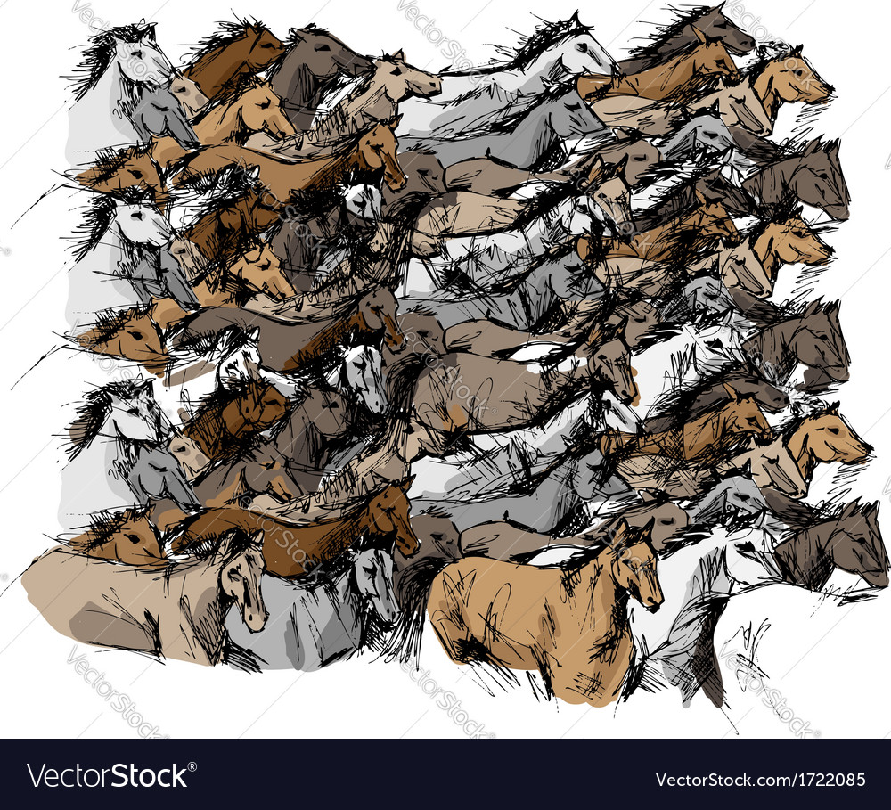 Sketch of horse running vector image