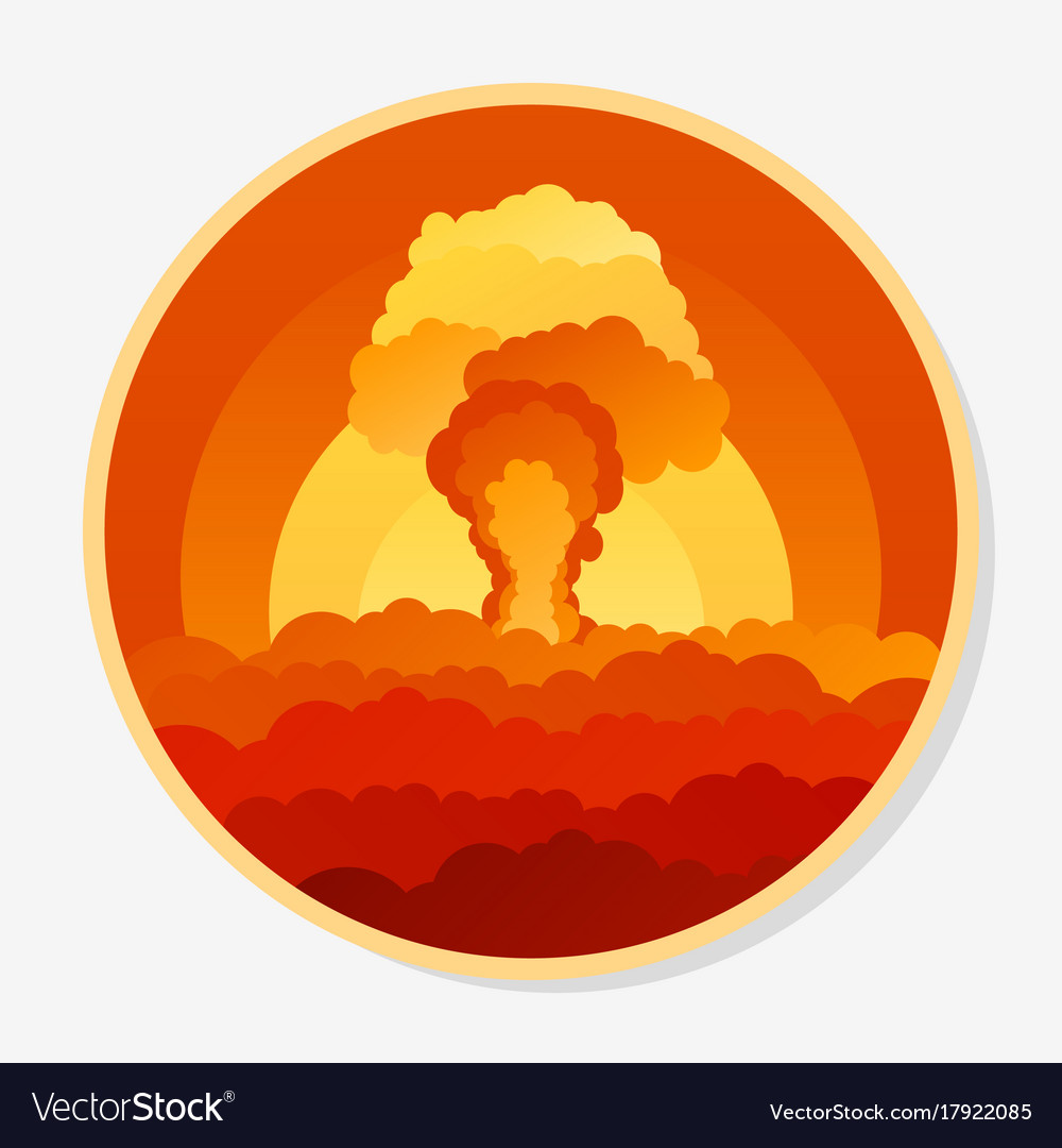 Stiker with clouds nuclear explosion and power