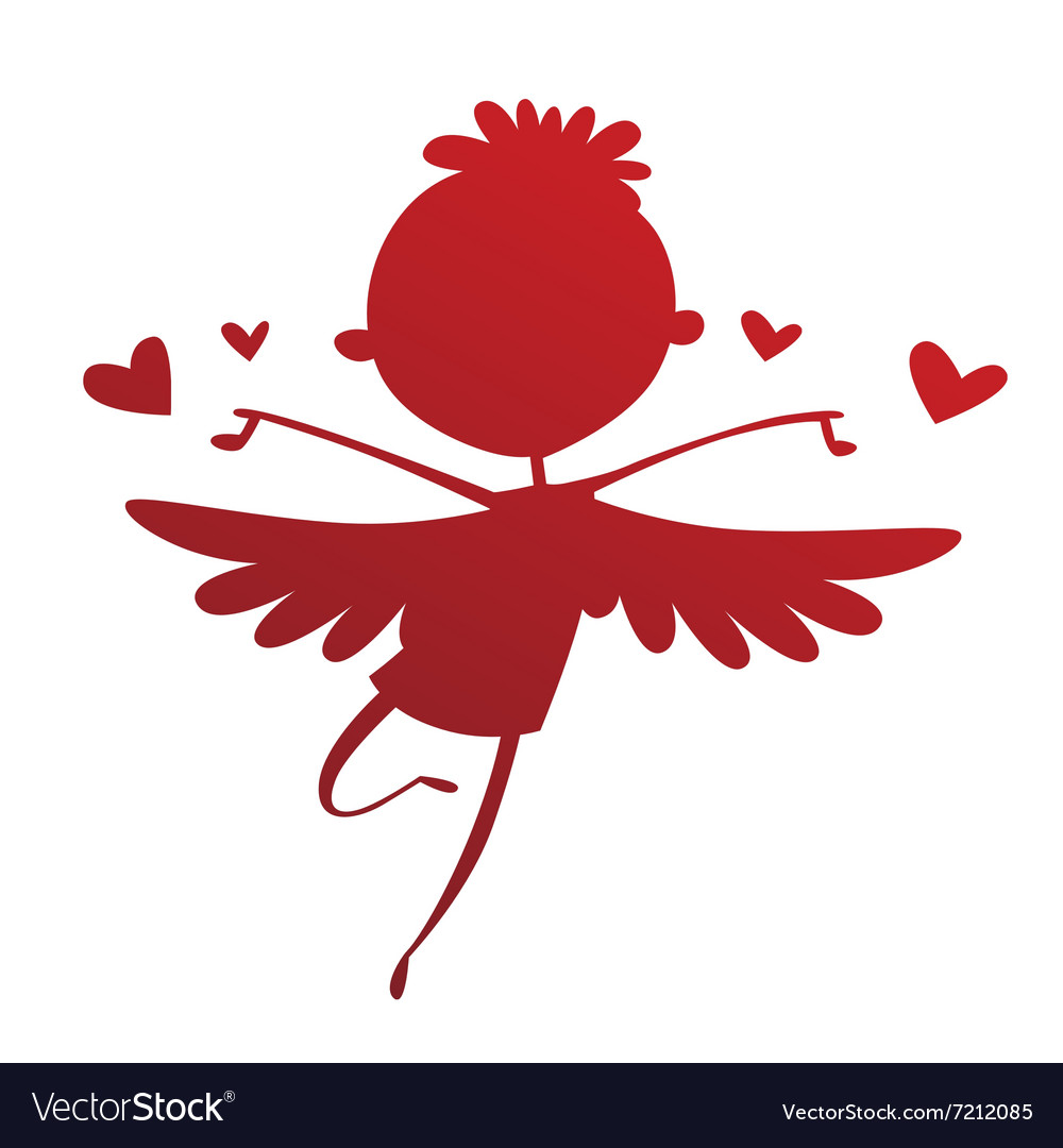 Valentine Day cupid angel cartoon style