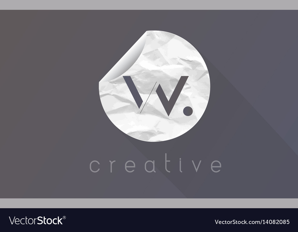 W letter logo with crumpled and torn wrapping