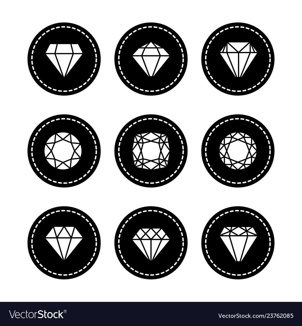 White diamonds icons set