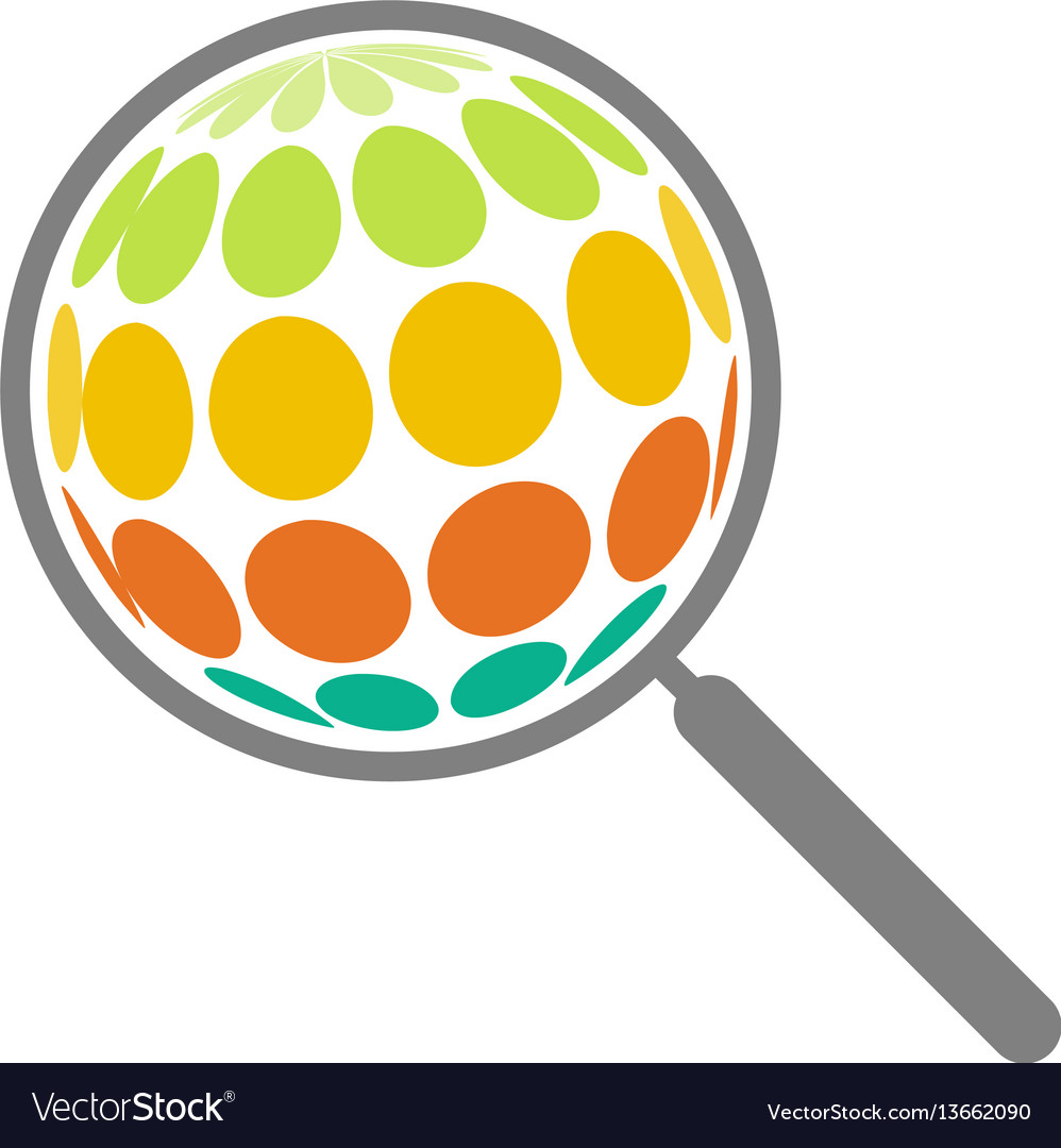 Abstract magnifying glass search on the surface of vector image