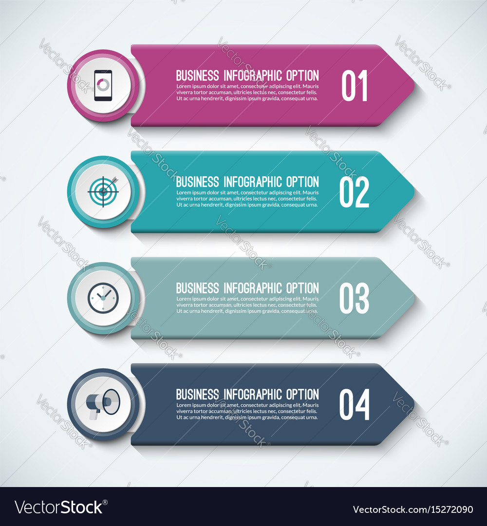 Arrow infographic options template with 4 steps