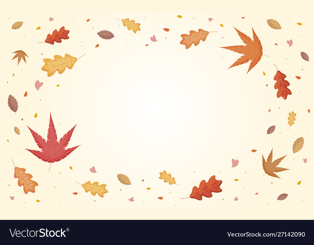 Autumn leaves falling with copy space