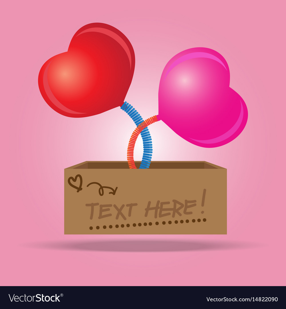Box with a heart sign symbol jumping out on a vector image