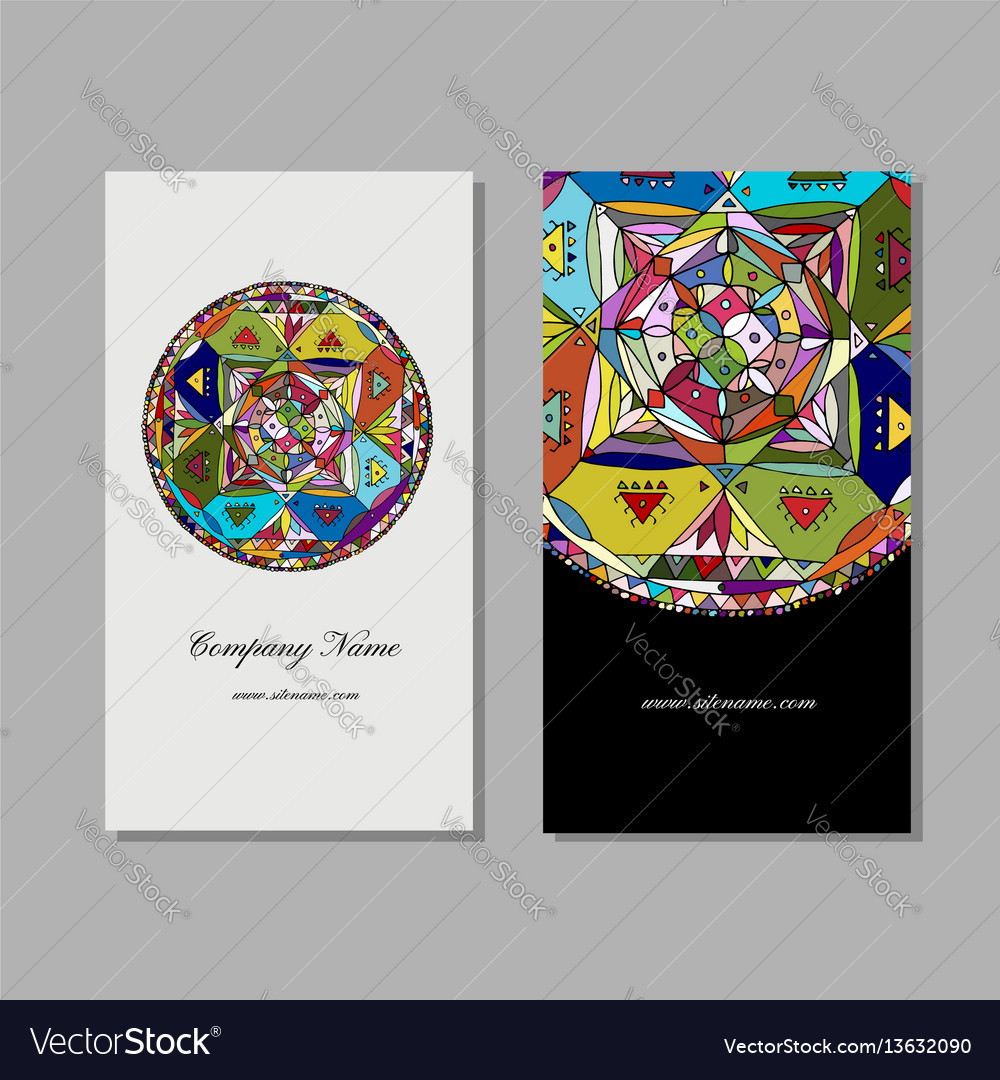 Business Card Design Ethnic Mandala Royalty Free Vector
